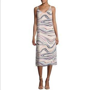 H by Halston pink blue marble print midi dress